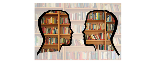 A silhouette of two heads looking at each other in front of a bookshelf.